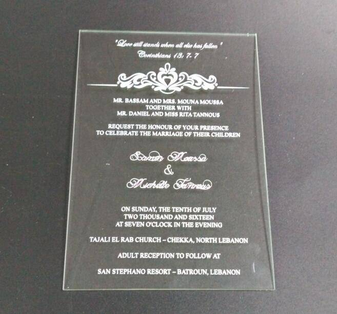 Wholesales plexiglass wedding invitation card
