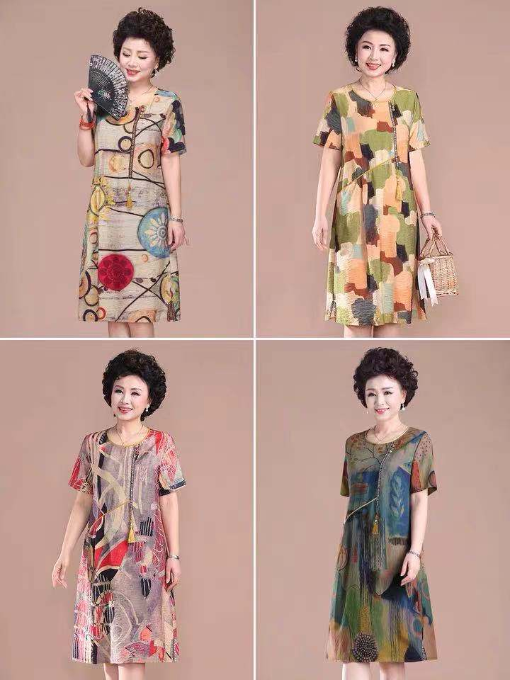 Middle-aged mother summer dress western-style dress large size cover belly 50 years old women