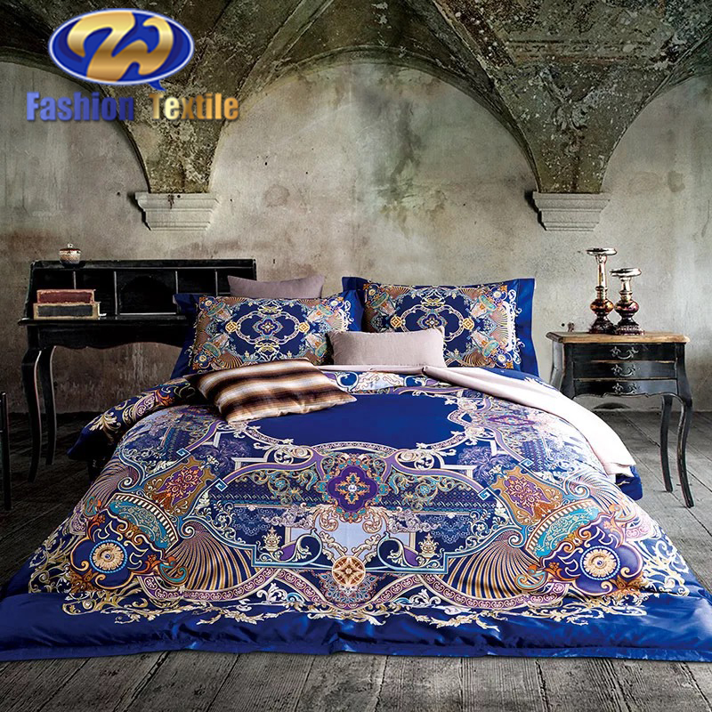 With quality warrantee double bed sheet quality turkish digital print bedding set