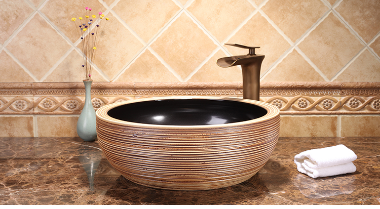 Handmade European Style Without Faucet Above Countertop Washstand Kitchen Ceramic Wash Basin