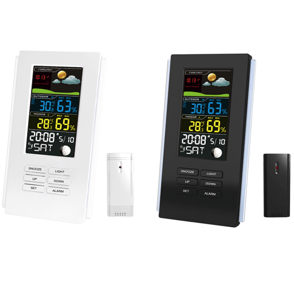 Wireless weather station clock with forecast