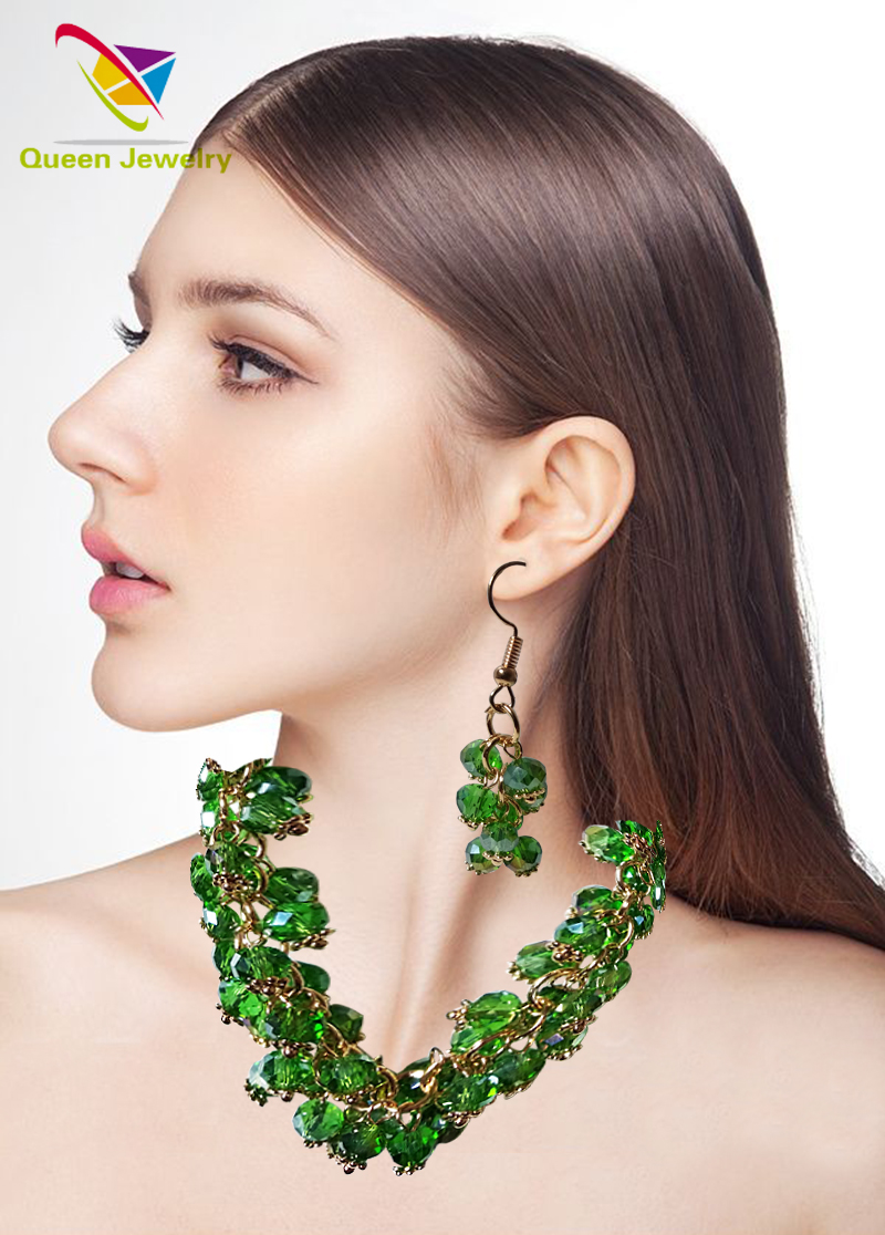 New trend wholesale green crystal jewelry necklace earring supplier