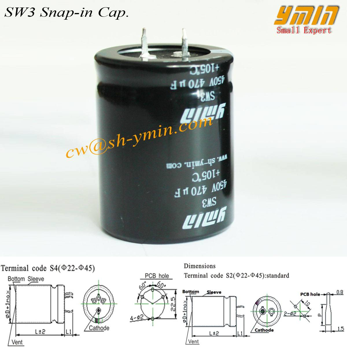 Snap in Electrolytic Capacitor for Heat Pump and Refrigerator