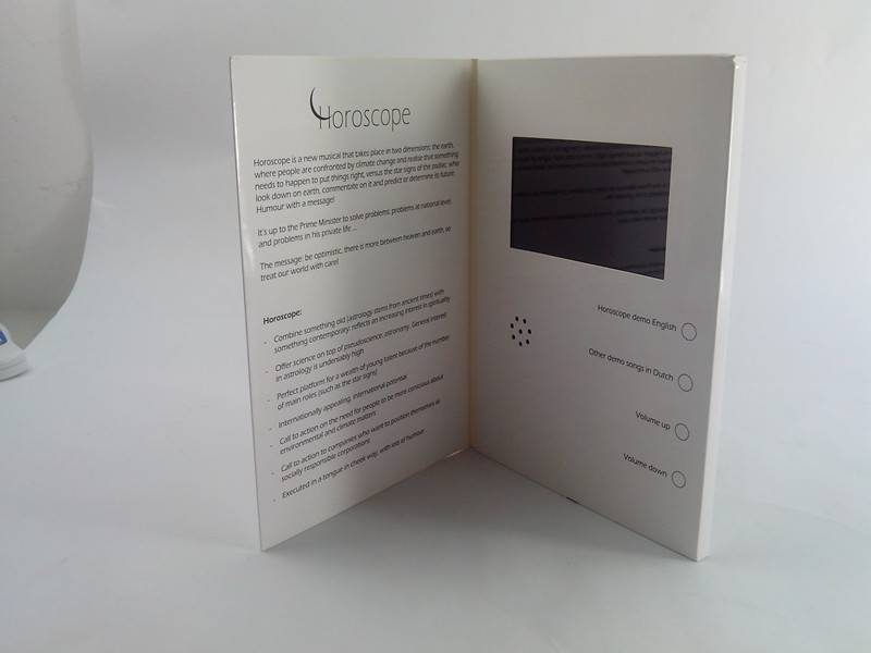 Video greeting card for creative advertising gifts