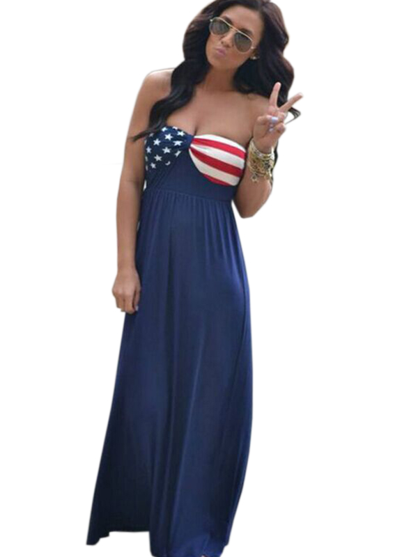 2017 New Arrival Sexy Women Sleeveless Flag Long Dress Casual Dress