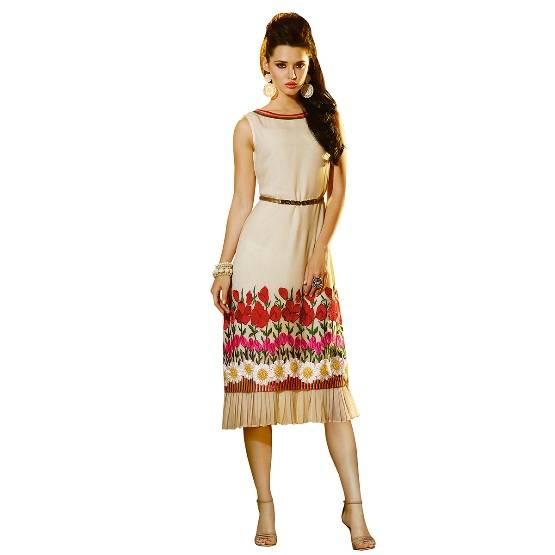 Shonaya  Cream  Colour Georgatte Embrodery Stitched Kurti  ETBLS-209