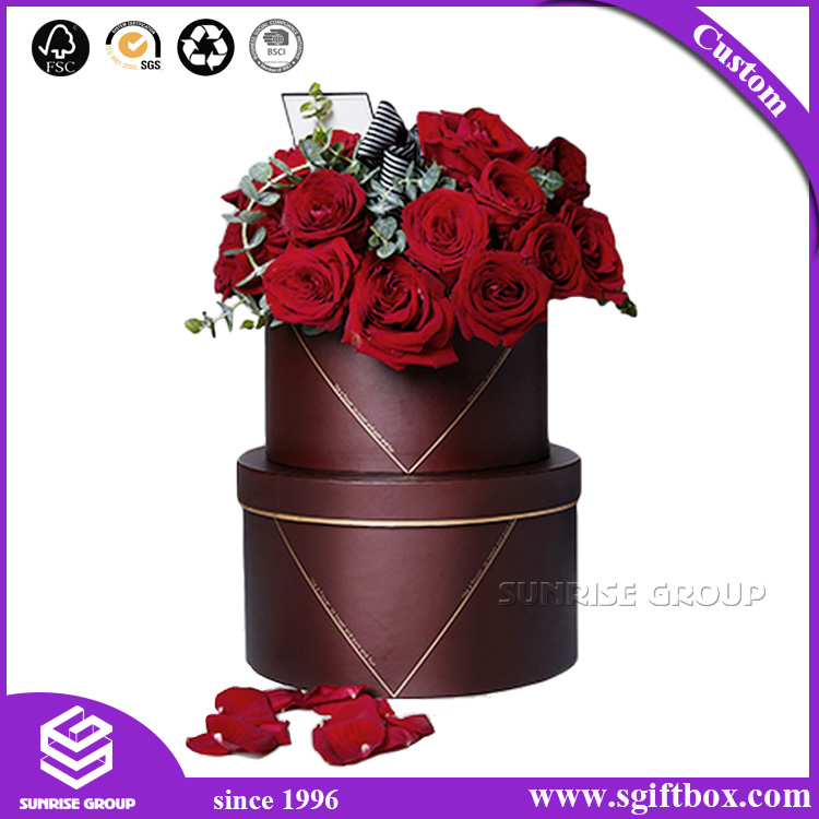 Rose Waterproof Round Flower Paper Packaging Gift Box