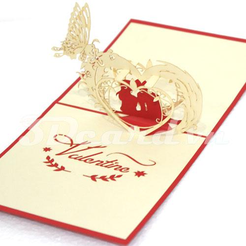 Valentines 1-Kirigami-Origamic-Laser cut-Pop up-3D-Paper cutting-Handmade-Love-Valentine card