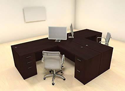 Two Persons Modern Executive Office Workstation Desk Set, CH-AMB-S2
