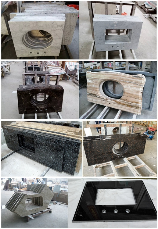 Bathroom Countertop, Vanity With Backsplash,Granite Washing Table With Splash,Vanity with Blackspla