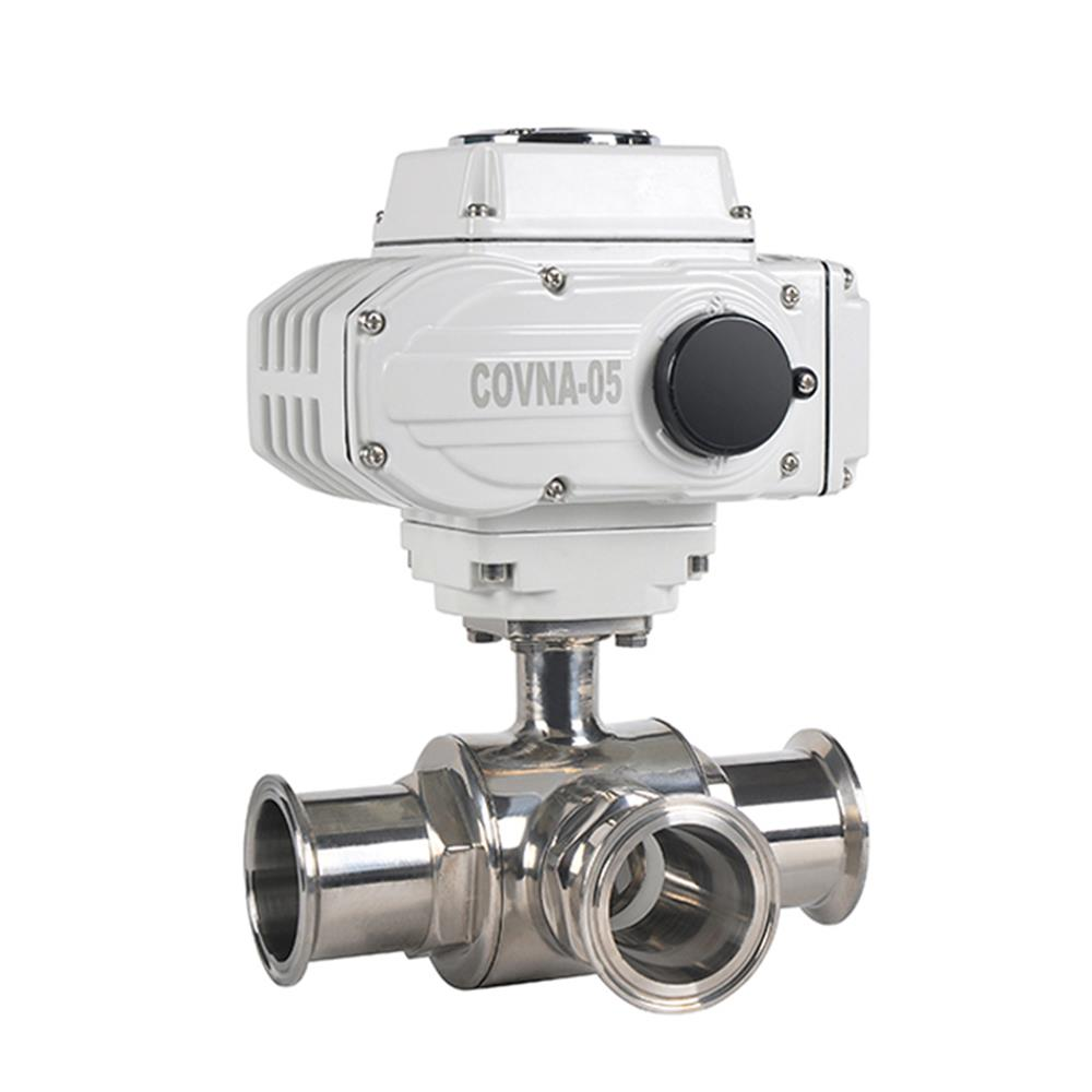COVNA DN20 Tri-Clamp 3 Way Sanitary Motorized Water Ball Valve with 24VAC DC Electric Actuator