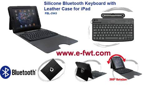 FEL-2943 Silicone BT Keyboard with Leather Case for iPad