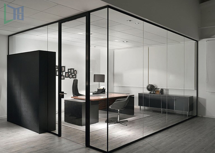 Factory direct selling china factory door design clear glass office partition with CE certificate