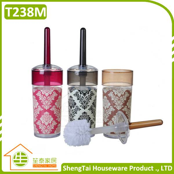 Bathroom Baroque Water Closet Bowl Toilet Brush With Printing Pattern Holder