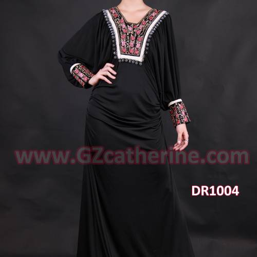 Black Jersey Arabic Women Clothing Embroidery Abayas 2013