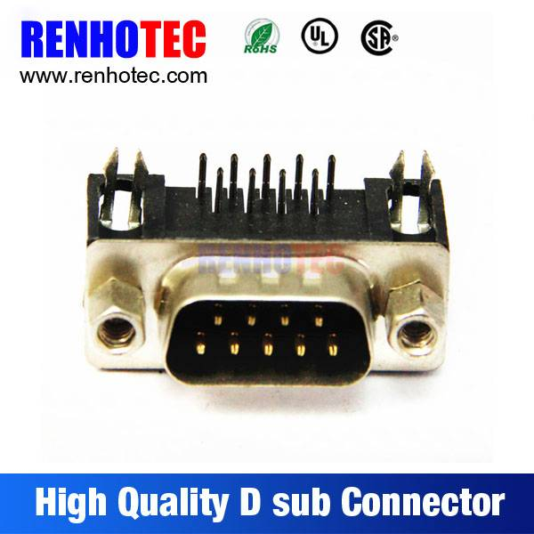 Producer in China Solder Black Housing 90 Degree Male 9 Pin D-Sub Connector