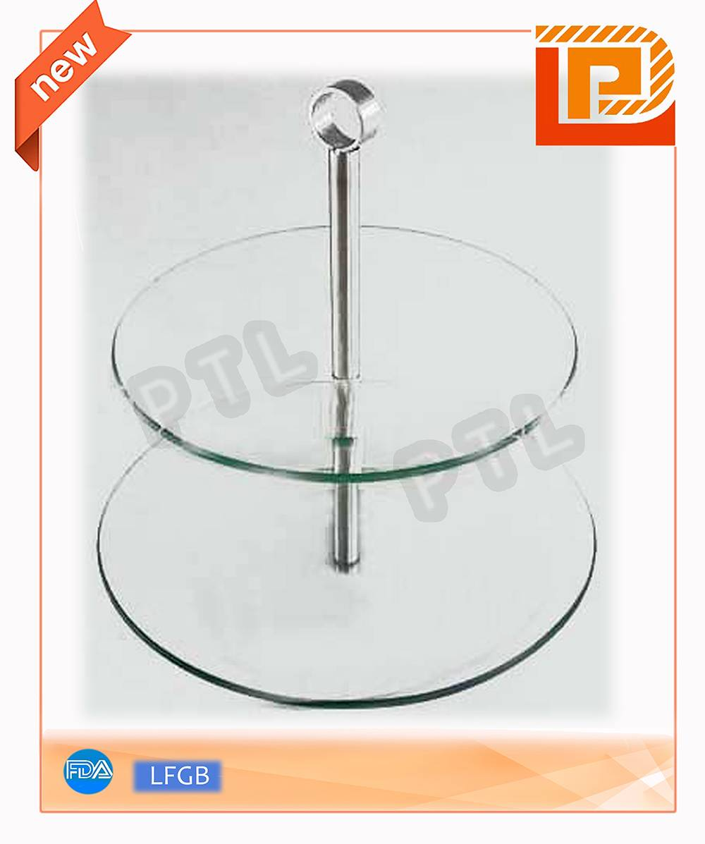 double-deck glass food holder