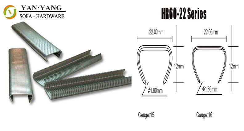 HR60-22 series silver color furniture staples sofa staples mattress clips spring clips