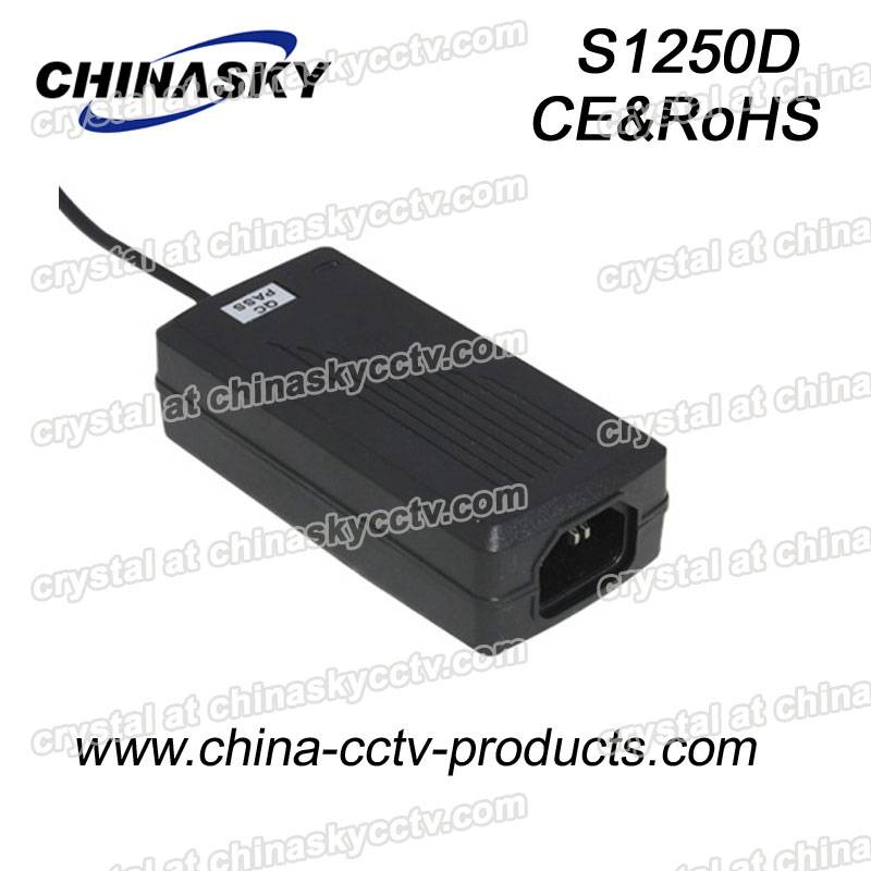 12VDC 6Amp 60W CE(LVD & EMC) & IEC60950 Desktop Type CCTV Camera Power Supply S1250D