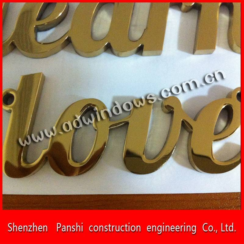 China gold titanium mirror polished anti-rust metal letter sign