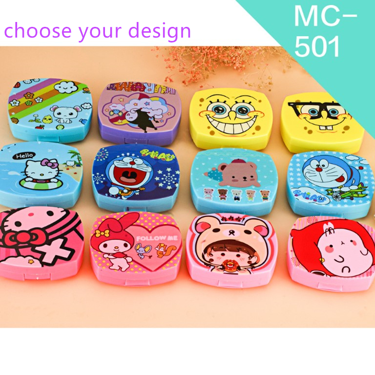 2018 wholesale cheap factory supply custom logo cute cartoon contact lens case