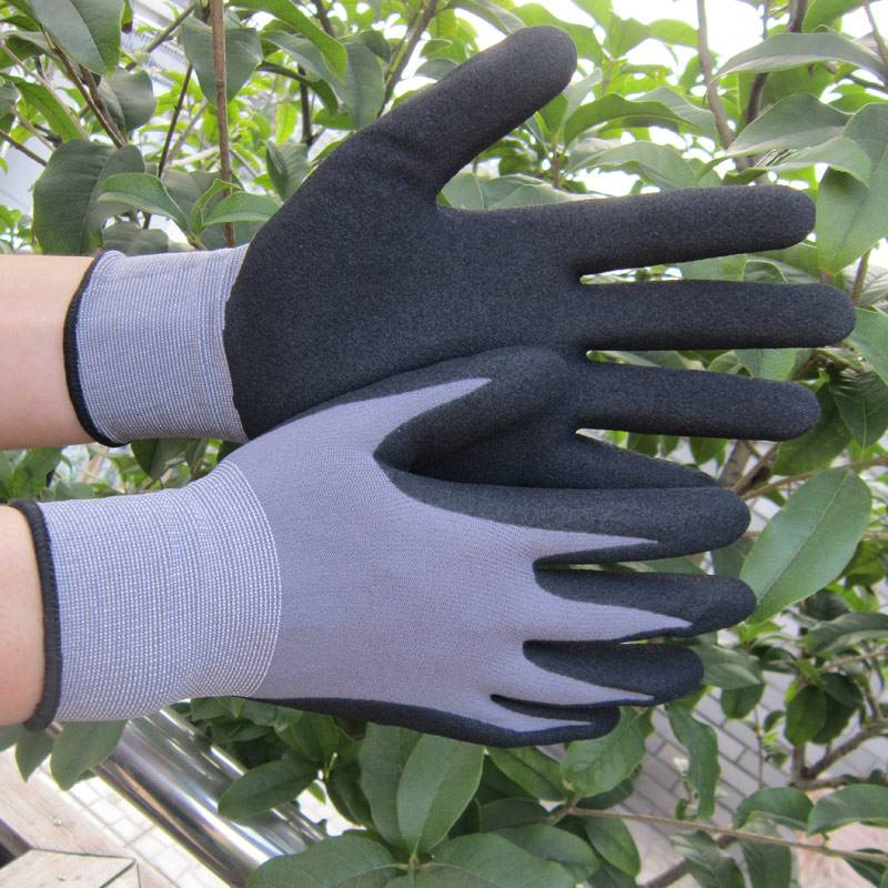 15 gauge spandex liner sandy nitrile gloves