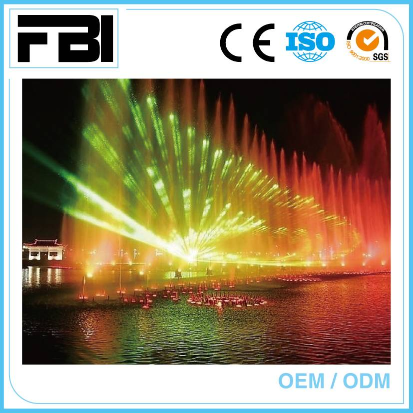 colorful laser show, outdoor fountain, dancing music fountain