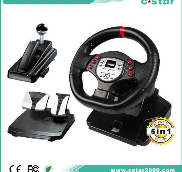 Video Six Game Steering Wheel For PS3 PS2 PS1 PCX PC (5 in 1)