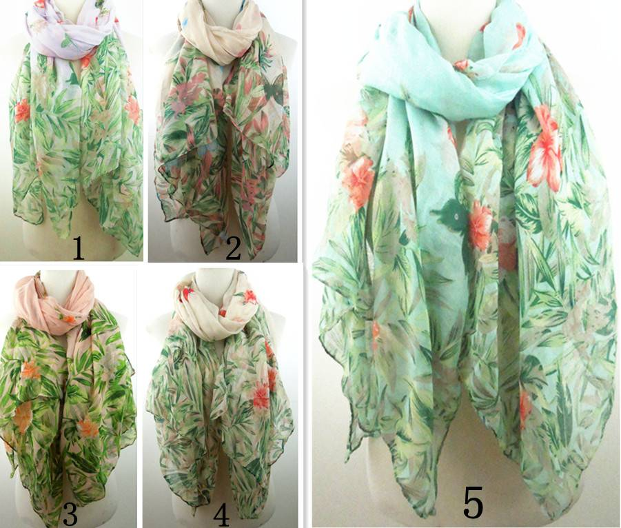 2015 lady's spring scarf butterflies and flowers print scarves PG904