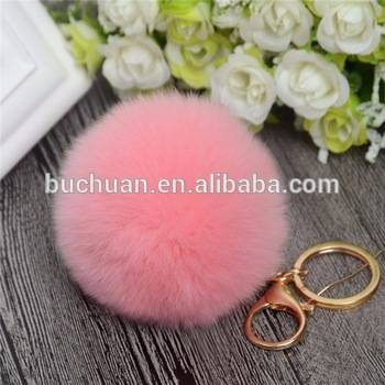 Natural Fashion Fox Real Fox Fur Ball Keychain