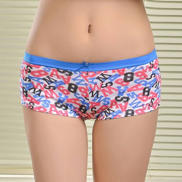2015 New print sport women underwear soft lady boxer short stretch cotton lady boyshort lady panties