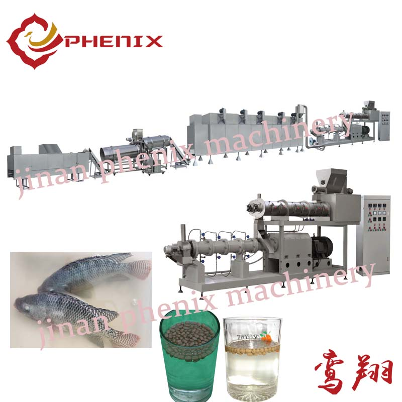 floating fish feed pellet twin screw extruder machine