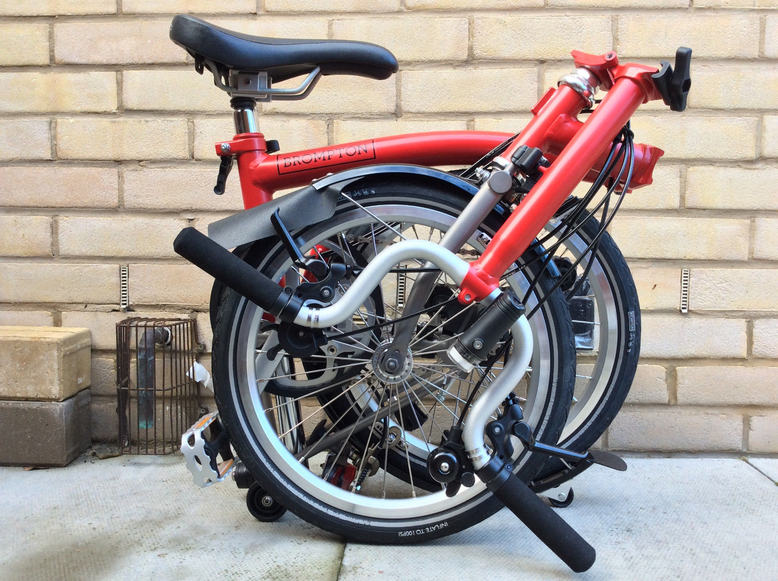 BROMPTON M6L-X SIX SPEED TITANIUM TI RED FOLDING BIKE BICYCLE  ....... $ 1, 799 USD