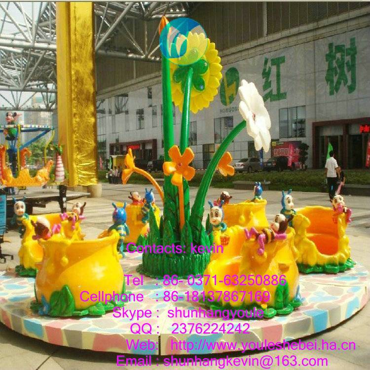 Beautiful and lovely honeybee shape merry go round horse for  hot sale