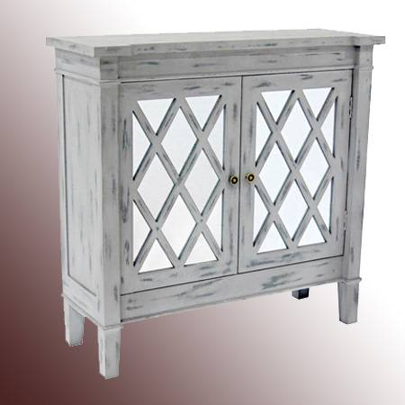2-Door Gray Wash Mirror Cabinet