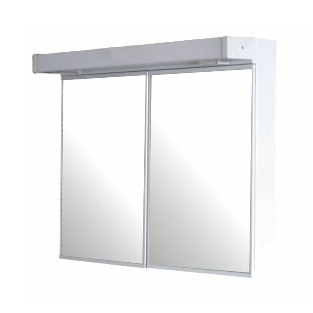 Double-door mirror cabinet with ligh