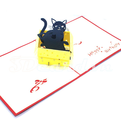 Cat in box-3d card-handmade card-pop up card-birthday card-greeting card-laser cut-paper cutting