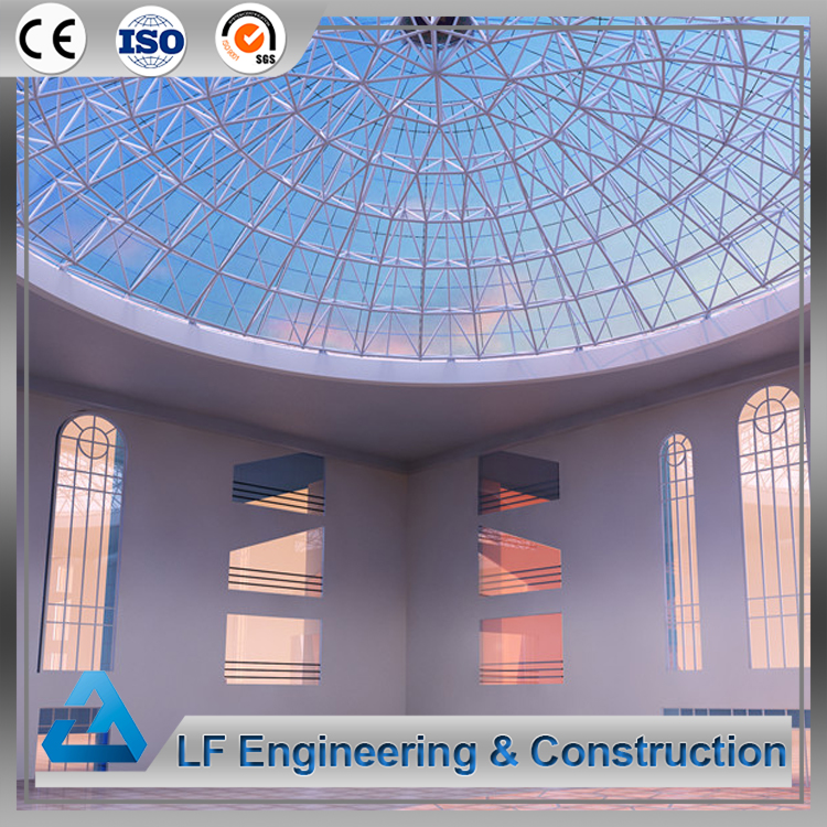 Light steel space frame glass dome