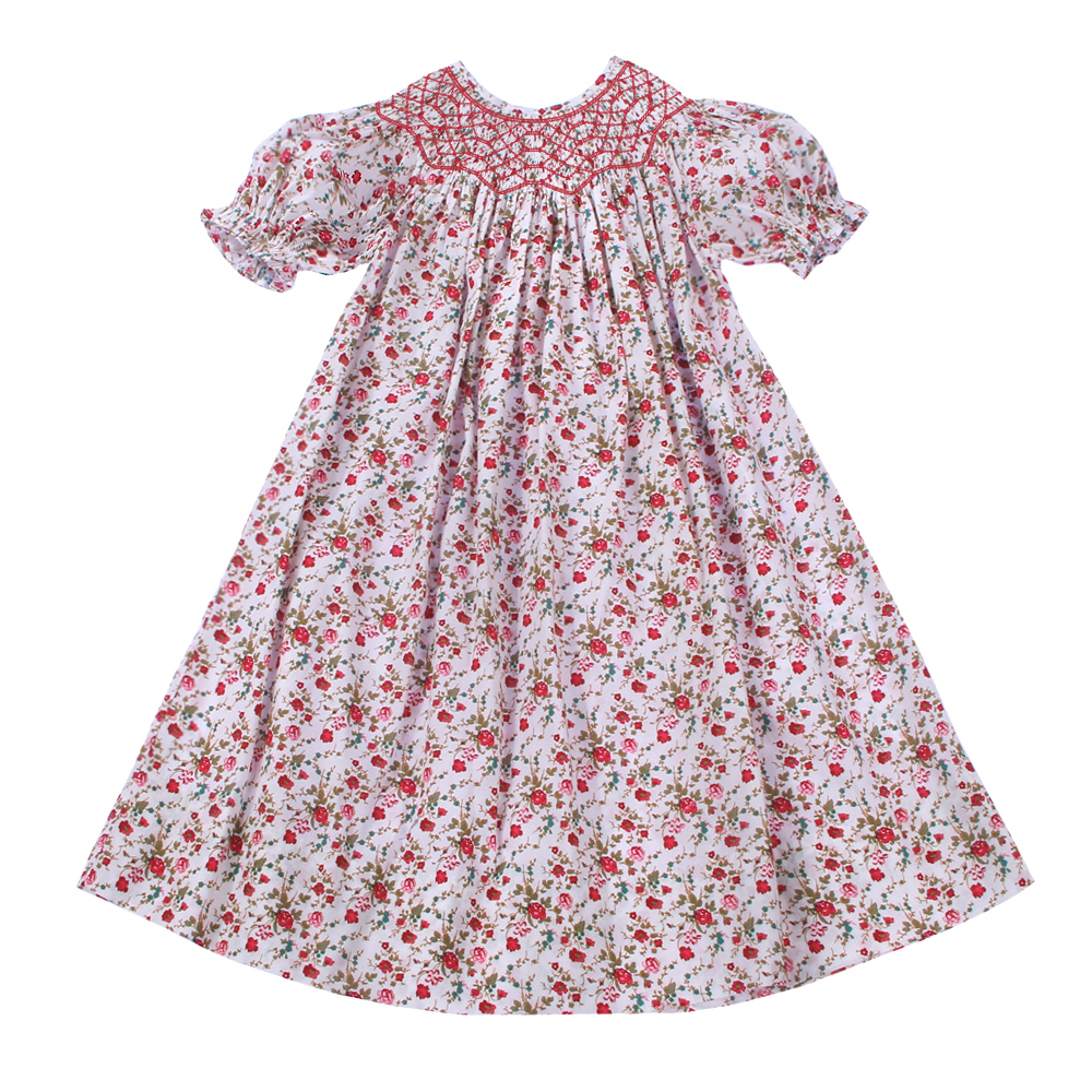 Pretty red floral smocked dress - DR 2537