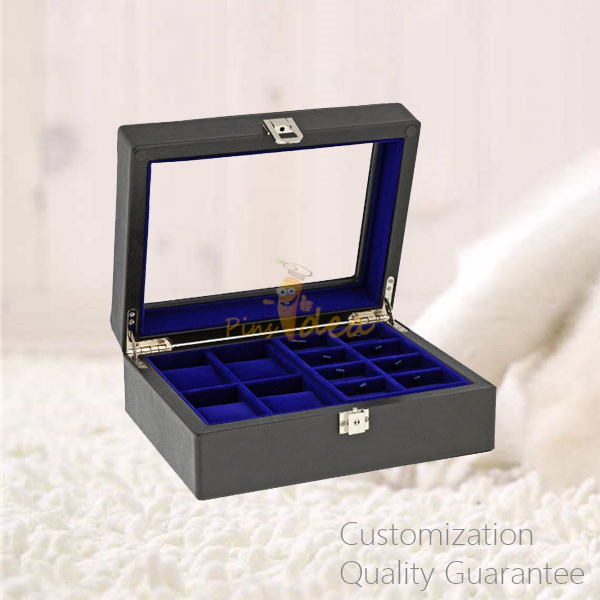 Luxury Matte Black Men's Gifts Watch Jewelry Cuff Links Storage Display Chest Box with Window on Lid