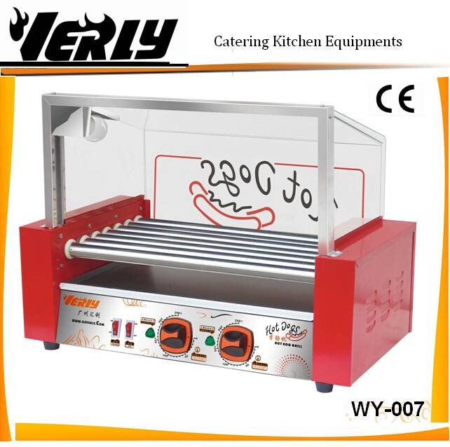 Hot sale New design 7 rollers Hot dog Grill with glass cover