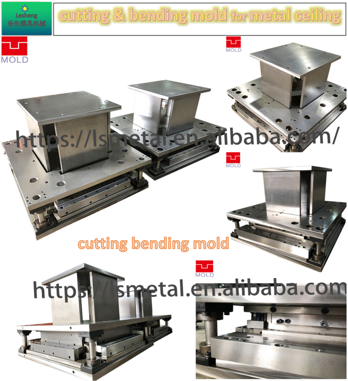 Progressive mold die for ceiling cutting corner and edge bending