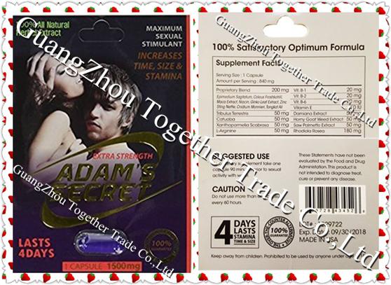 Adam's Secret 1500mg  Platinum Male Sexual Enhancer Capsule GENUINE