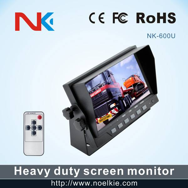 7 inch U style bracket tft lcd monitor with 2 video input 1 audio output