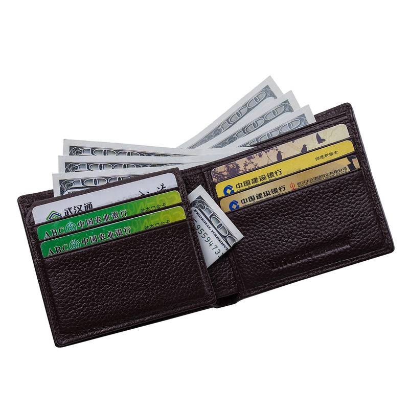 Identity Safe Card Holder Top Grain Leather Credit Card Wallet Rfid with Gift Box Packing
