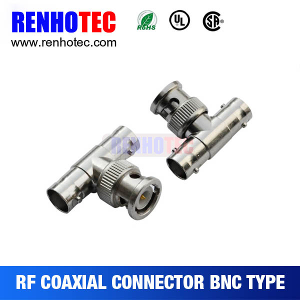 T Type BNC Male Plug to Double Jack Adaptor
