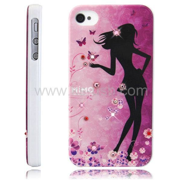 MiMO Series Cartoon Handmade Diamond Encrusted Plastic Case for iPhone 4 & 4S