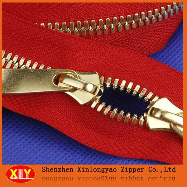 5# Gold Teeth Red Tape Metal Zipper For Sale