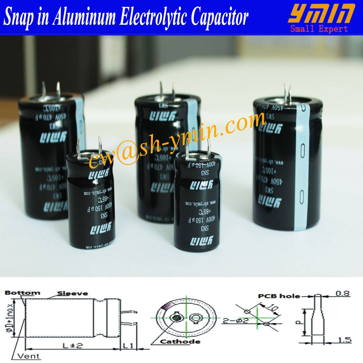 Professional Capacitor Snap in Electrolytic Capacitor for Electricity Car Charging Post Electricity