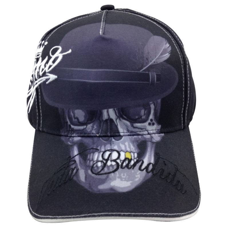 5 panel letters embroidered baseball cap fitted Spandex cotton baseball cap with front skull printin